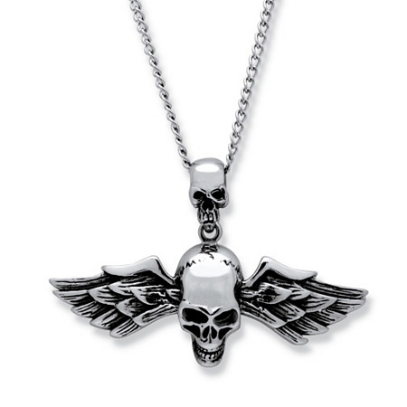 Men's Double Skull and Wings Pendant and 24
