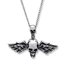 "Men's Double Skull and Wings Pendant and 24"" Chain in Stainless Steel"
