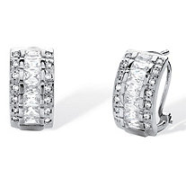 "4.20 TCW Emerald-Cut Cubic Zirconia Triple-Row Semi-Hoop Earrings in .925 Sterling Silver (5/8"")"