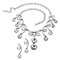 Round Crystal Scroll Necklace and Earrings Set in Silvertone