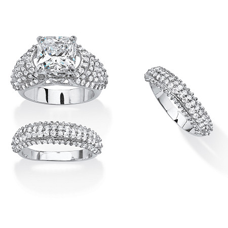 5.73 TCW Cushion-Cut Cubic Zirconia Three-Piece Bridal Set Platinum-Plated at PalmBeach Jewelry