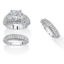 5.73 TCW Cushion-Cut Cubic Zirconia Three-Piece Bridal Set Platinum-Plated