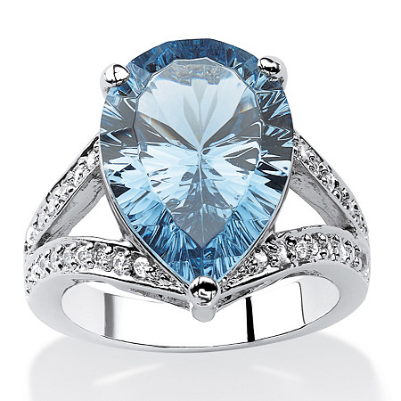 .32 TCW Pear-Cut London Blue Spinel and Cubic Zirconia Cocktail Ring in Silvertone at PalmBeach Jewelry