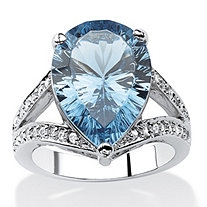 .32 TCW Pear-Cut London Blue Spinel and Cubic Zirconia Cocktail Ring in Silvertone