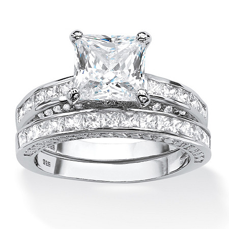 3.38 TCW Princess-Cut Cubic Zirconia Two-Piece Bridal Set in Platinum Over .925 Sterling Silver at PalmBeach Jewelry