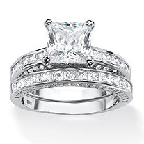 SETA JEWELRY 3.38 TCW Princess-Cut Cubic Zirconia Two-Piece Bridal Set in Platinum Over .925 Sterling Silver