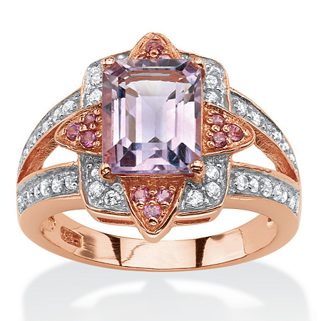 2.69 TCW Genuine Emerald-Cut Amethyst and Pink Rhodolite Ring in Rose Gold over .925 Sterling Silver at PalmBeach Jewelry