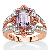 Genuine Emerald-Cut Amethyst And Pink Rhodolite Ring In Rose Gold Over Sterling Silver ONLY $49.99
