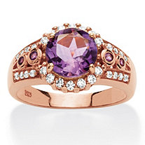 2.17 TCW Genuine Round Amethyst Halo Cocktail Ring in Rose-Plated Sterling Silver