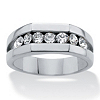 Related Item Men's Round Crystal Beveled Squared Wedding Band in Stainless Steel