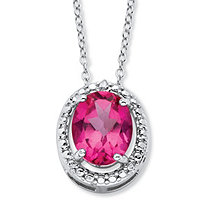3.50 TCW Genuine Oval Pink Topaz and Diamond Accent Halo Necklace in .925 Sterling Silver