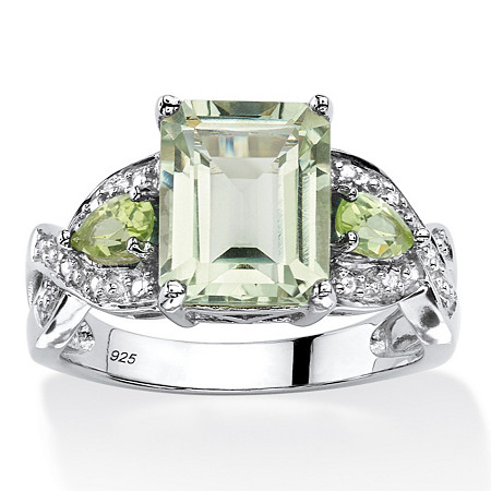 3.40 TCW Emerald-Cut Genuine Green Amethyst Ring in Platinum Over .925 Sterling Silver at PalmBeach Jewelry