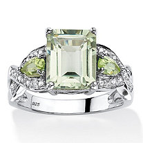 SETA JEWELRY 3.40 TCW Emerald-Cut Genuine Green Amethyst Ring in Platinum Over .925 Sterling Silver