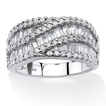 3.10 TCW Baguette Cubic Zirconia Crossover Anniversary Ring in Platinum Over .925 Sterling Silver at PalmBeach Jewelry