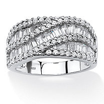3.10 TCW Baguette Cubic Zirconia Crossover Anniversary Ring in Platinum Over .925 Sterling Silver