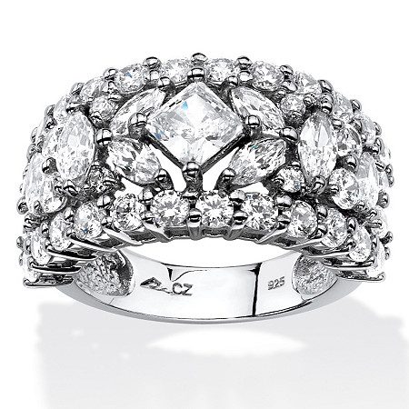 4.12 TCW Princess and Marquise-Cut Cubic Zirconia Wedding Band in Platinum over .Sterling Silver at PalmBeach Jewelry