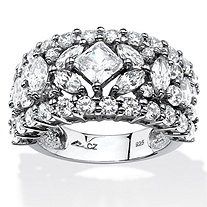 4.12 TCW Princess and Marquise-Cut Cubic Zirconia Wedding Band in Platinum over .Sterling Silver