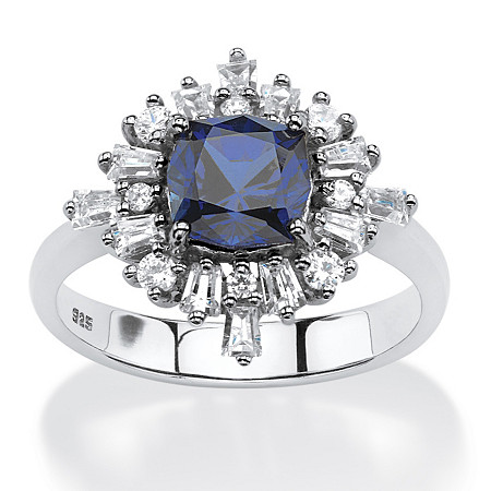 2.87 TCW Created Blue Sapphire Vintage-Style Ring in Platinum over .925 Sterling Silver at PalmBeach Jewelry