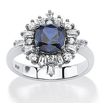 2.87 TCW Created Blue Sapphire Vintage-Style Ring in Platinum over .925 Sterling Silver