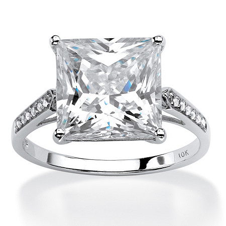 Princess-Cut Cubic Zirconia Engagement Ring 3.37 TCW in Solid 10k White Gold at PalmBeach Jewelry