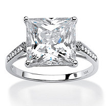 SETA JEWELRY Princess-Cut Cubic Zirconia Engagement Ring 3.37 TCW in Solid 10k White Gold
