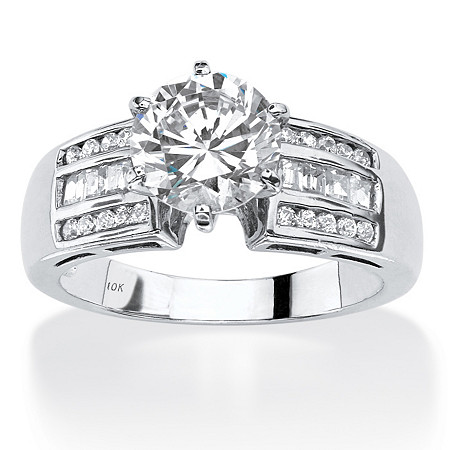 2.50 TCW Round Cubic Zirconia Channel-Set Engagement Ring in Solid 10k White Gold at PalmBeach Jewelry