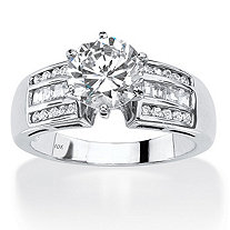 SETA JEWELRY 2.50 TCW Round Cubic Zirconia Channel-Set Engagement Ring in Solid 10k White Gold