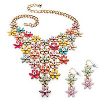Multicolor Lucite and Crystal Flower Necklace and Earrings Set in Gold Tone