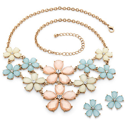 Checkerboard-Cut Pastel Lucite and Crystal Flower Necklace and Earrings Set in Gold Tone at PalmBeach Jewelry