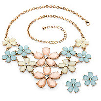 Checkerboard-Cut Pastel Lucite and Crystal Flower Necklace and Earrings Set in Gold Tone