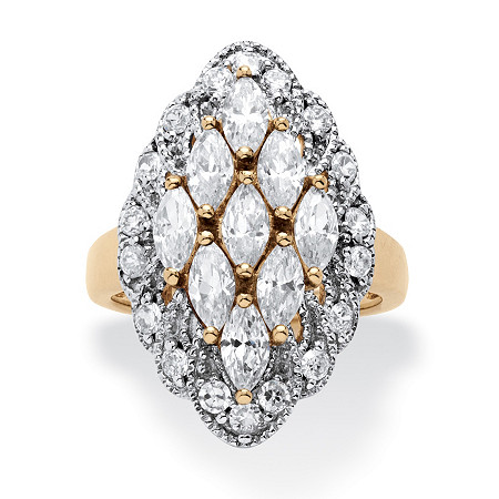 2.84 TCW Marquise-Cut Cubic Zirconia Cluster Ring in 14k Gold Over .925 Sterling Silver at PalmBeach Jewelry