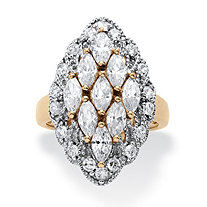 2.84 TCW Marquise-Cut Cubic Zirconia Cluster Ring in 14k Gold Over .925 Sterling Silver