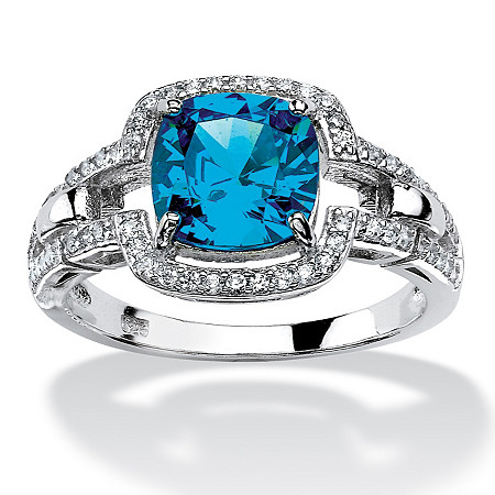 1.97 TCW Cushion-Cut Blue Cubic Zirconia Halo Cocktail Ring in Platinum over Sterling Silver at PalmBeach Jewelry