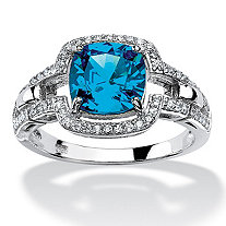 1.97 TCW Cushion-Cut Blue Cubic Zirconia Halo Cocktail Ring in Platinum over Sterling Silver