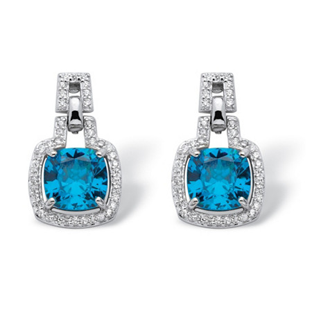 3.82 TCW Cushion-Cut Blue Cubic Zirconia Halo Drop Earrings in Platinum over .925 Sterling Silver at PalmBeach Jewelry