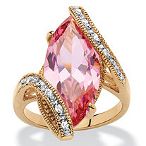 SETA JEWELRY 8.06 TCW Marquise-Cut Pink Cubic Zirconia Bypass Cocktail Ring 18k Yellow Gold-Plated