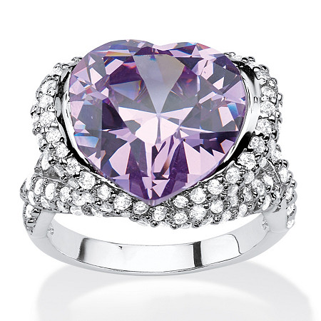 23.11 TCW Heart-Shaped Bezel-Set Lavender and White Cubic Zirconia Halo Crossover Cocktail Ring in Silvertone at PalmBeach Jewelry