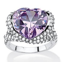 23.11 TCW Heart-Shaped Bezel-Set Lavender and White Cubic Zirconia Halo Crossover Cocktail Ring in Silvertone