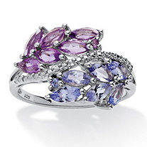 1.38 TCW Marquise-Cut Genuine Amethyst and Tanzanite Leaf Motif Ring in .925 Sterling Silver