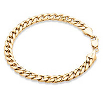 "Men's Curb-Link Chain Bracelet in 10k Yellow Gold 8.5"" (7mm)"
