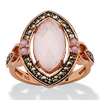 Genuine Pink Cat's Eye and Black Marcasite Vintage-Style Marquise Halo Ring in Rose Gold over Sterling Silver