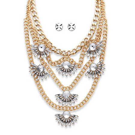 "Round and Marquise-Cut Crystal Multi-Chain Fan Motif Necklace and Earrings Set in Gold Tone 19""-22"" at PalmBeach Jewelry"