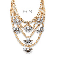 """Round And Marquise-Cut Crystal Multi-Chain Fan Motif Necklace And Earrings Set In Gold Tone 19""""-22"""""""