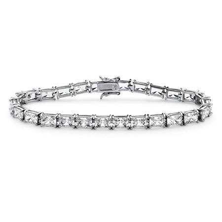 "13 TCW Emerald-Cut Cubic Zirconia Tennis Bracelet in Platinum over Sterling Silver 7.25"" at PalmBeach Jewelry"