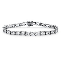 SETA JEWELRY 13 TCW Emerald-Cut Cubic Zirconia Tennis Bracelet in Platinum over Sterling Silver 7.25