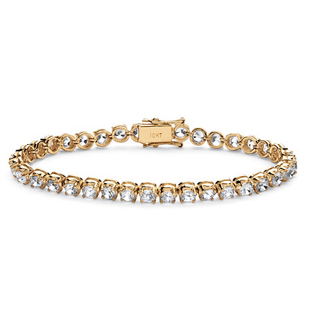 10.75 TCW Round Cubic Zirconia Tennis Bracelet in 10k Yellow Gold at PalmBeach Jewelry