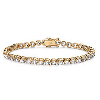 SETA JEWELRY 10.75 TCW Round Cubic Zirconia Tennis Bracelet in 10k Yellow Gold