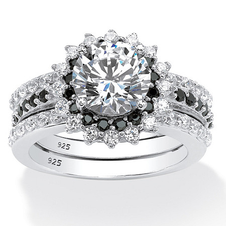 3.12 TCW Cubic Zirconia Vintage-Style Halo Jacket Bridal Ring Set in Platinum over Sterling Silver at PalmBeach Jewelry
