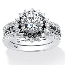 SETA JEWELRY 3.12 TCW Cubic Zirconia Vintage-Style Halo Jacket Bridal Ring Set in Platinum over Sterling Silver