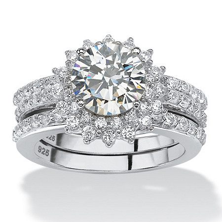3.12 TCW Round Cubic Zirconia Halo Bridal Jacket Ring Set in Platinum over Sterling Silver at PalmBeach Jewelry